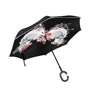 XiangHeFu - Paraguas invertido de Doble Capa, diseño de Rosas y ...