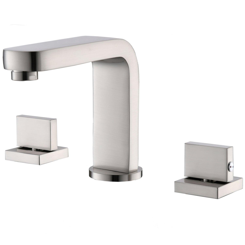 Hotis Widespread Brushed Nickel Two Handle Three Hole Vanity Bathroom Sink Faucet,Vessel Bathroom Faucet With Hoses