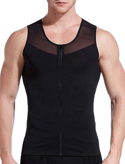 4a70d8dd60d8e7 Amazon.com  HÖTER Mens Slimming Body Shaper Vest T-Shirt Zipper ...