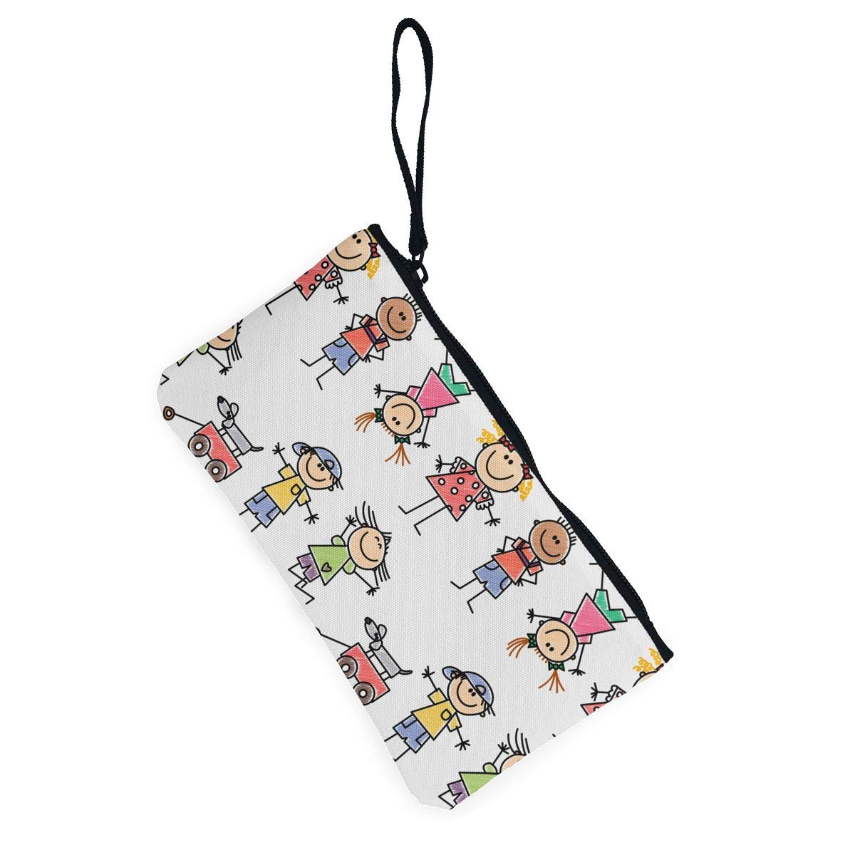 Make Up Bag,Cellphone Bag With Handle Kids Drawing Zipper Canvas Coin Purse Wallet