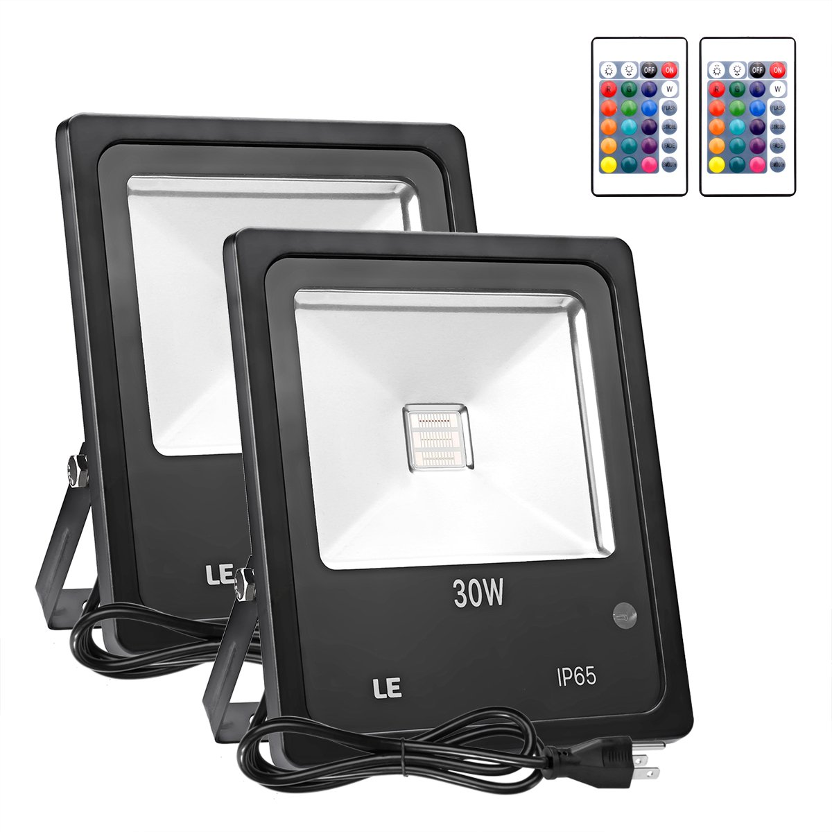 LE 30W Outdoor RGB LED Flood Lights with Remote Control, Multi Color, Dimmable, 16 Colors Change, 4 Modes, Waterproof, Wall Washer, for Garden, Yard, Warehouse, Pack of 2