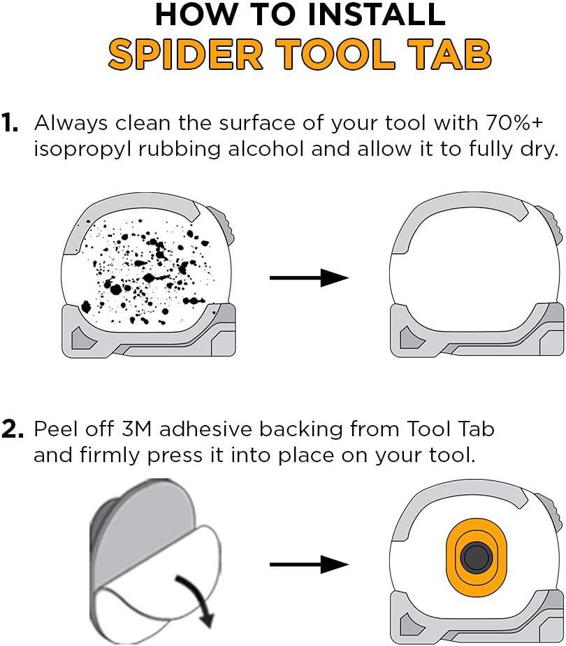 Sujeci/ón segura y r/ápido acceso a su cinta m/étrica. Juego de cintas m/étricas Portaherramientas Spider