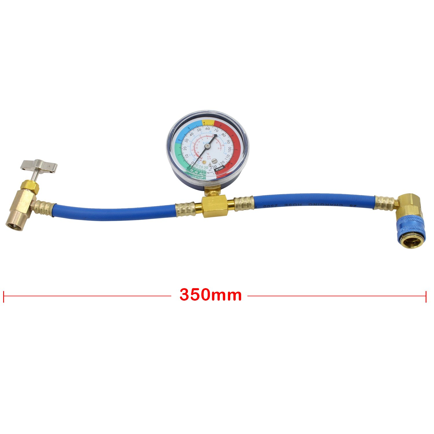 HSeaMall R134A Charge Hose Auto Car Air Conditioning Refrigerant Recharge Measuring Adapter with Guage