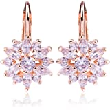 BAMOER 18K Rose Gold Plated Cubic Zirconia Snowflake Leverback Earrings for Women Girls CZ Jewelry Fashion Drop Earrings 3 Style