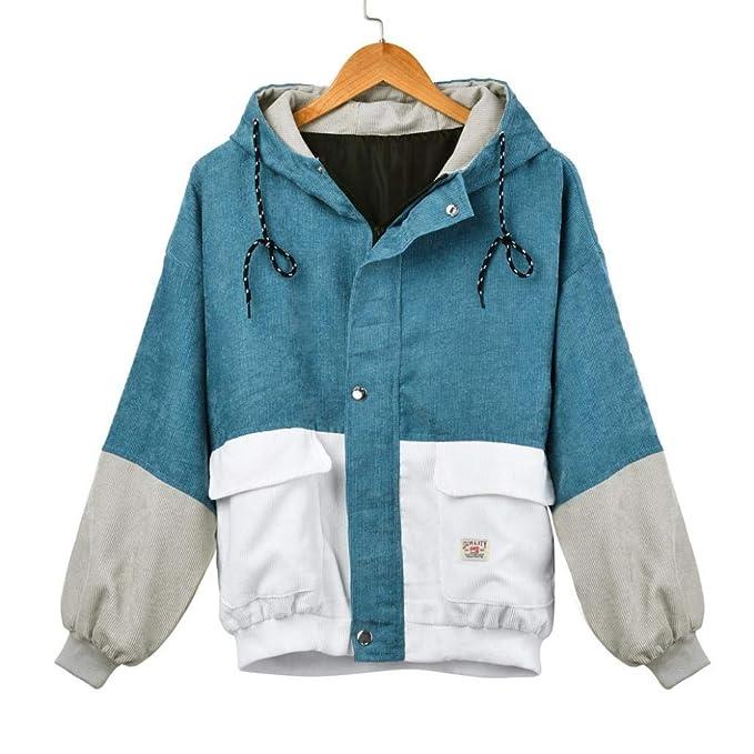 buy online 8af7a 7dd73 MCYs Damen Beiläufig Lange Ärmel Corduroy Patchwork Übergroß Reißverschluss  Jacke Mantel Windjacke Mantel Frühling Herbst Stilvoll Bequem Outwear ...