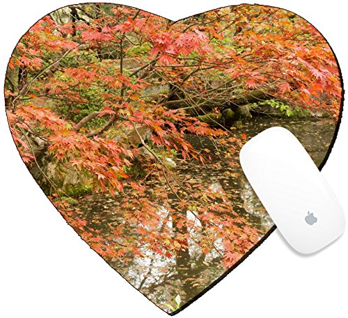 Luxlady Mousepad Heart Shaped Mouse Pads/Mat design IMAGE ID 31354708 Red maples planted on the shore and reflection in a Japanese garden near Heian - Garden Shrine Heian