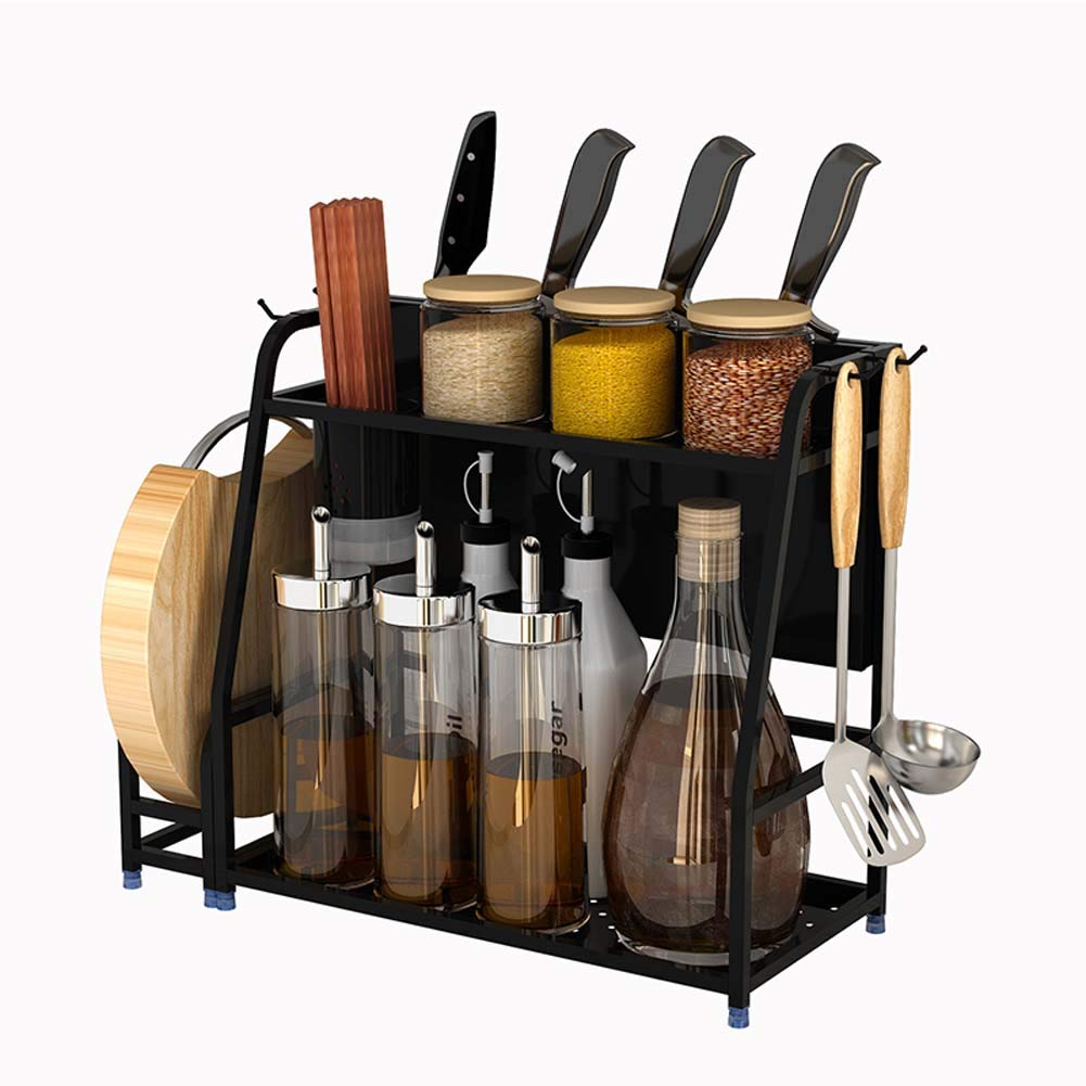 Condiment Storage Rack, 2-Layer Kitchen Counter Storage Rack for Seasoning Jars, with Chopping Block Holder, Cutlery Holder, Knife Holder (30 14.5 40Cm)