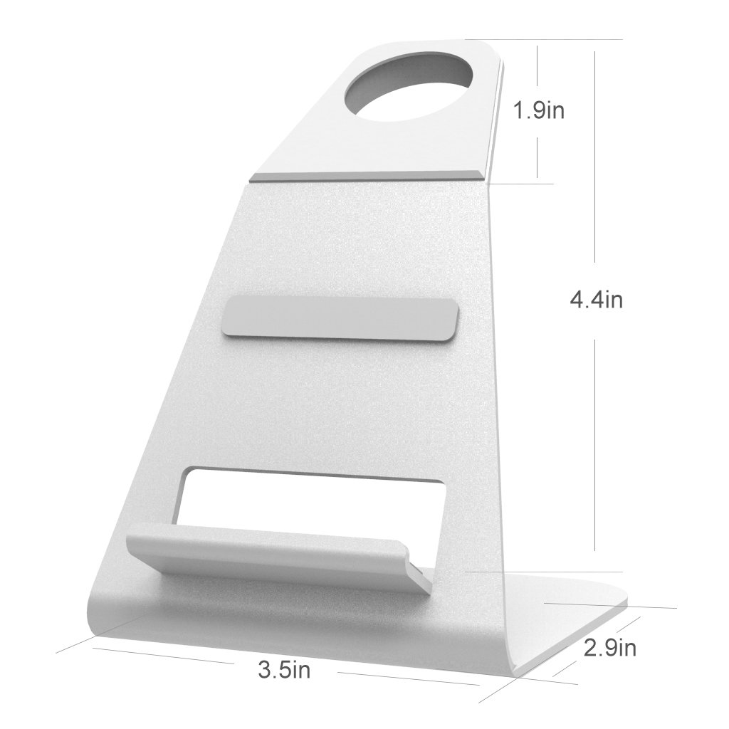 XUNMEJ Watch Stand for Apple Watch Charging Dock Stand Bracket Station Holder for Apple Watch Series 3/Series 2/ Series 1 (42mm 38mm) iPhone X 8 8plus 7 7plus 6S 6plus (Sliver) by XUNMEJ (Image #9)