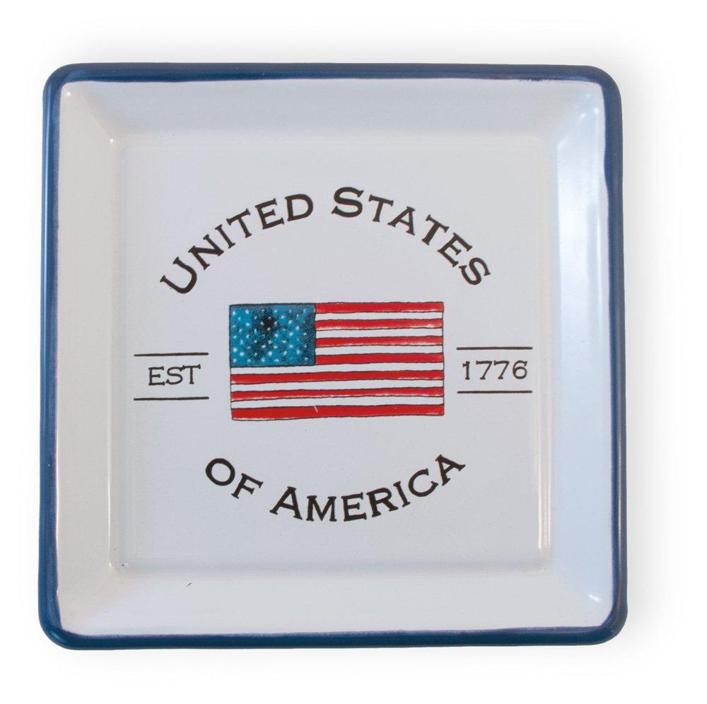 USA Flag Celebrate the Home BAF18356 5 x 5-Inches Boston International Enamelware Square Plate