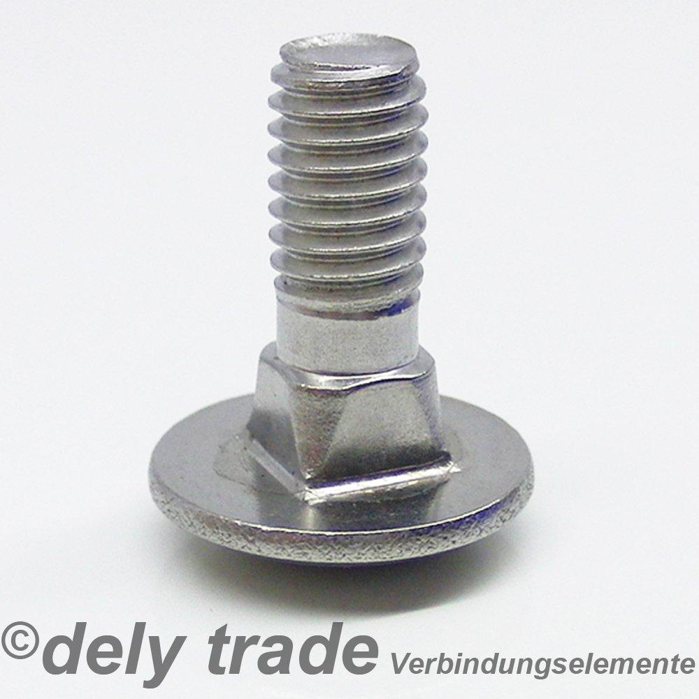 10 St/ück Schlossschrauben M6 X 65//65 DIN 603 Edelstahl A2