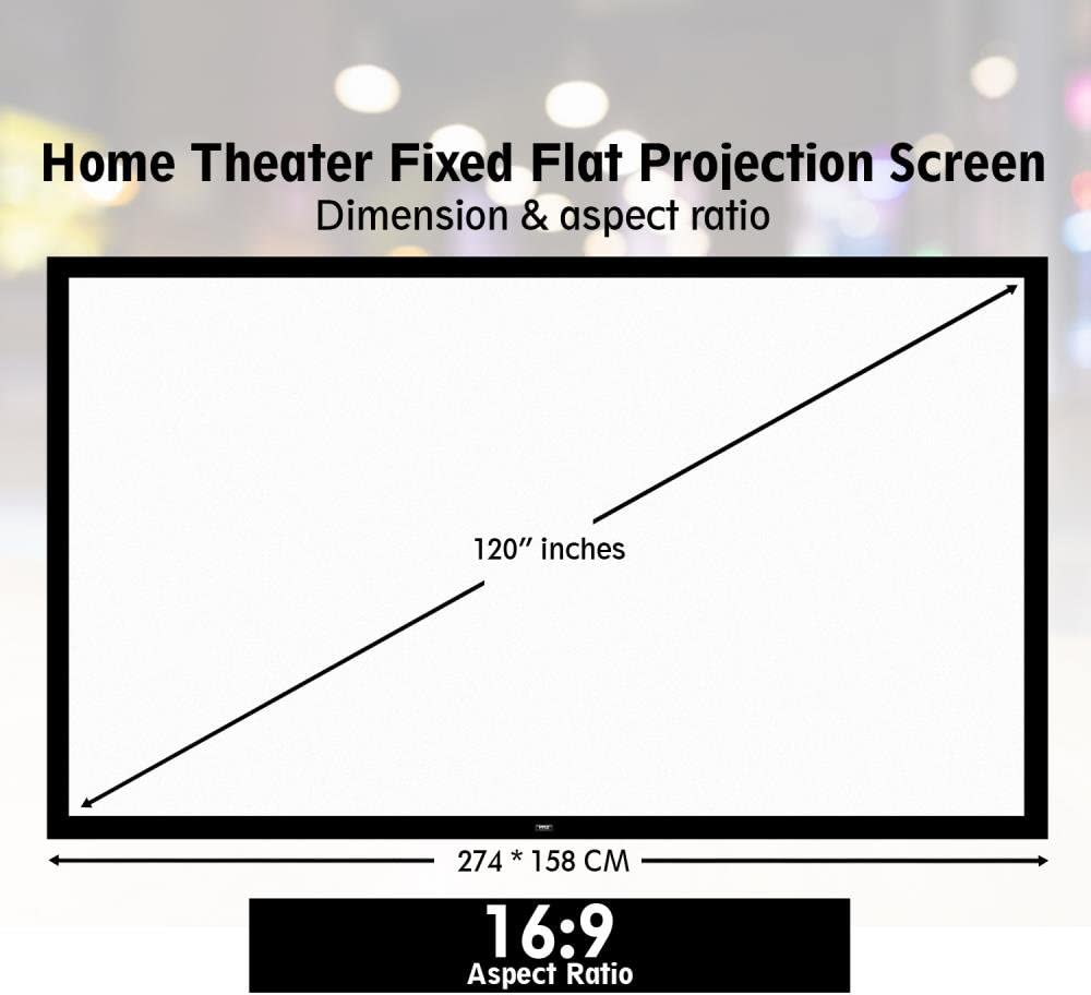 Amazon Com Pyle 120 Projector Screen Matte White Home Theater Tv Wall Mounted Fixed Flat W 16 9 Aspect Ratio Full Hd Projection Easy Mount Ideal For Office Presentation Prjtpfl122 Black Electronics
