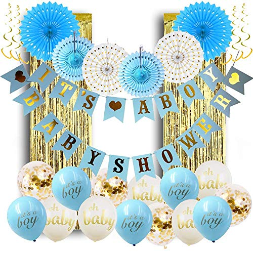 Baby Shower Decorations for Boy; Its a Boy Baby Shower Hollow Paper Fan Balloons Banner Gold Foil Fringe Curtain Kit for Baby Shower Party ()