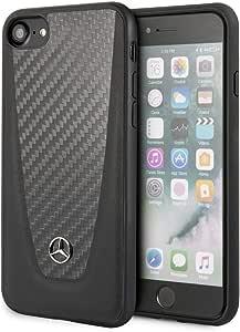 Mercedes-Benz Leather Hard Case with Carbon Fiber for iPhone SE 2 - Black