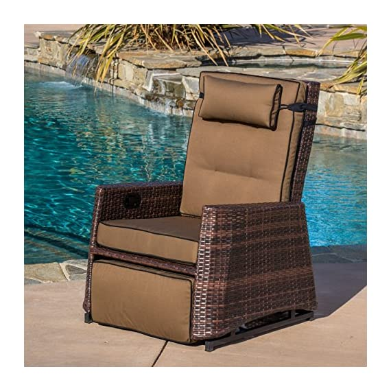 Westwood Outdoor Glider Recliner Chair - Comfortably relax outdoors Sturdy aluminum frame with woven PE Wicker gives you quality and stability Neutral brown colors won't distract but will add to the beauty of the outdoors - patio-furniture, patio-chairs, patio - 61gpPQkDA2L. SS570  -