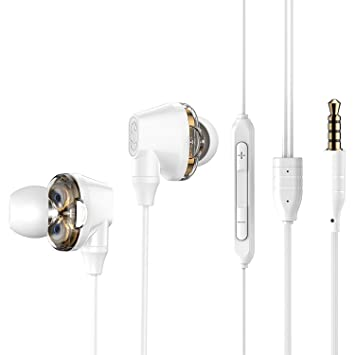 3.5mm Wired Earphone with Mic Double Dynamic in-Ear Earbuds Earphones with Microphone for