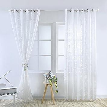 Tessuto voile tende finestre foglia stampa tenda a pannelli ...