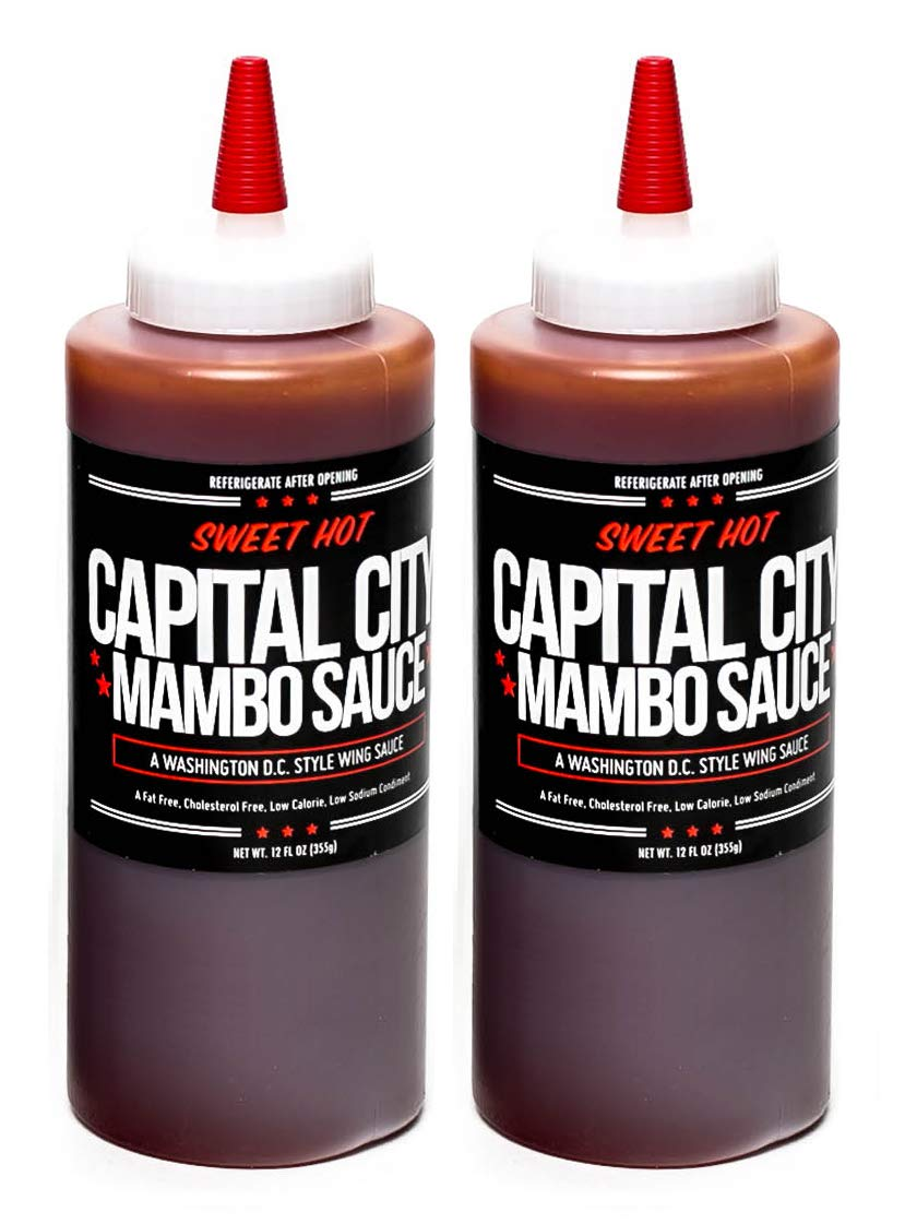 Capital City Mambo Sauce - A Washington DC Wing Sauce (12 oz); Perfect for wings, chicken, pork, beef, and seafood (Sweet Hot, 2 Pack)