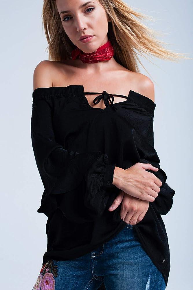 Q2 Blusa Negra con Hombros al Descubierto Camisa, L Mujeres: Amazon.es: Ropa y accesorios