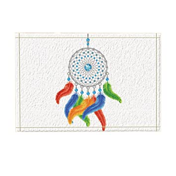 KOTOM Native American Style Decor, Colorful Dream Catcher Feathers Isolated on White Bath Rugs,