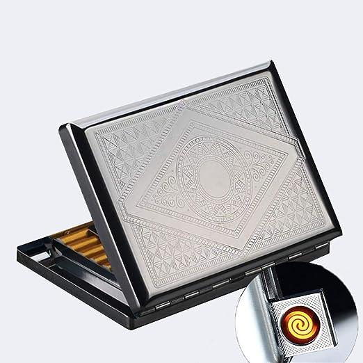 Estuche de cigarrillos de metal de 2 piezas con encendedor ...