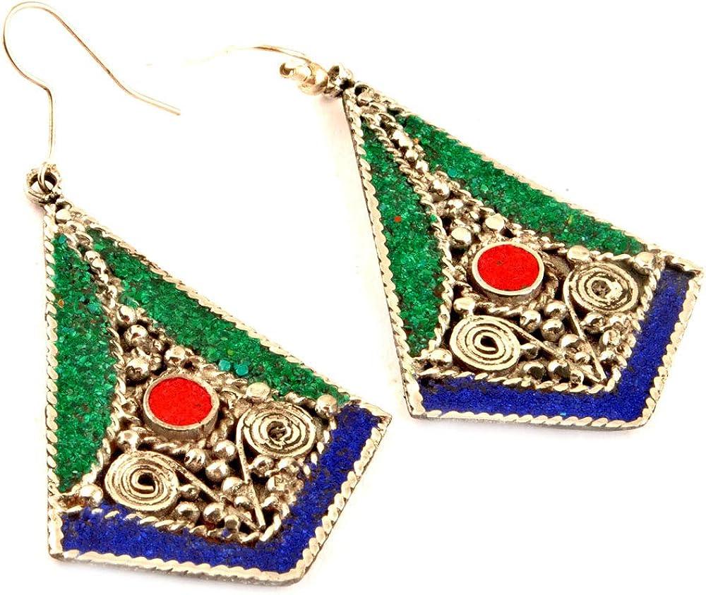 Indie Artisans Pendientes étnicos de color turquesa, con incrustaciones de piedras preciosas múltiples, chapados en plata 925, estilo bohemio, gitano, estilo vintage, turquesa y coral lapislázuli