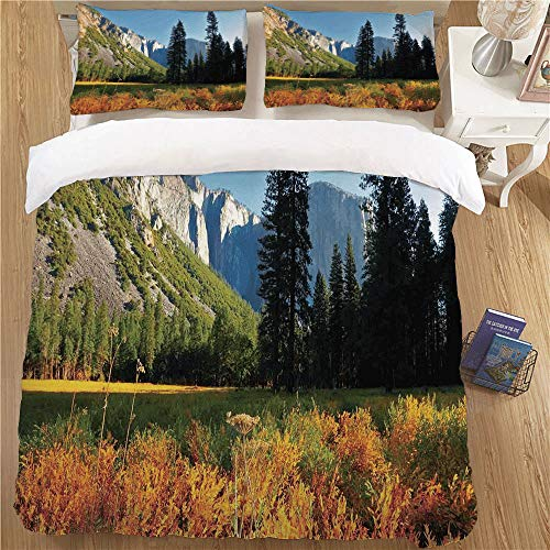 Bedding Duvet Cover Set,King Size,3 Piece for Young People's Rooms Yosemite Birds Flight Flies Over Mountains Yosemite National Park Early Fall Season Orange Blue Green