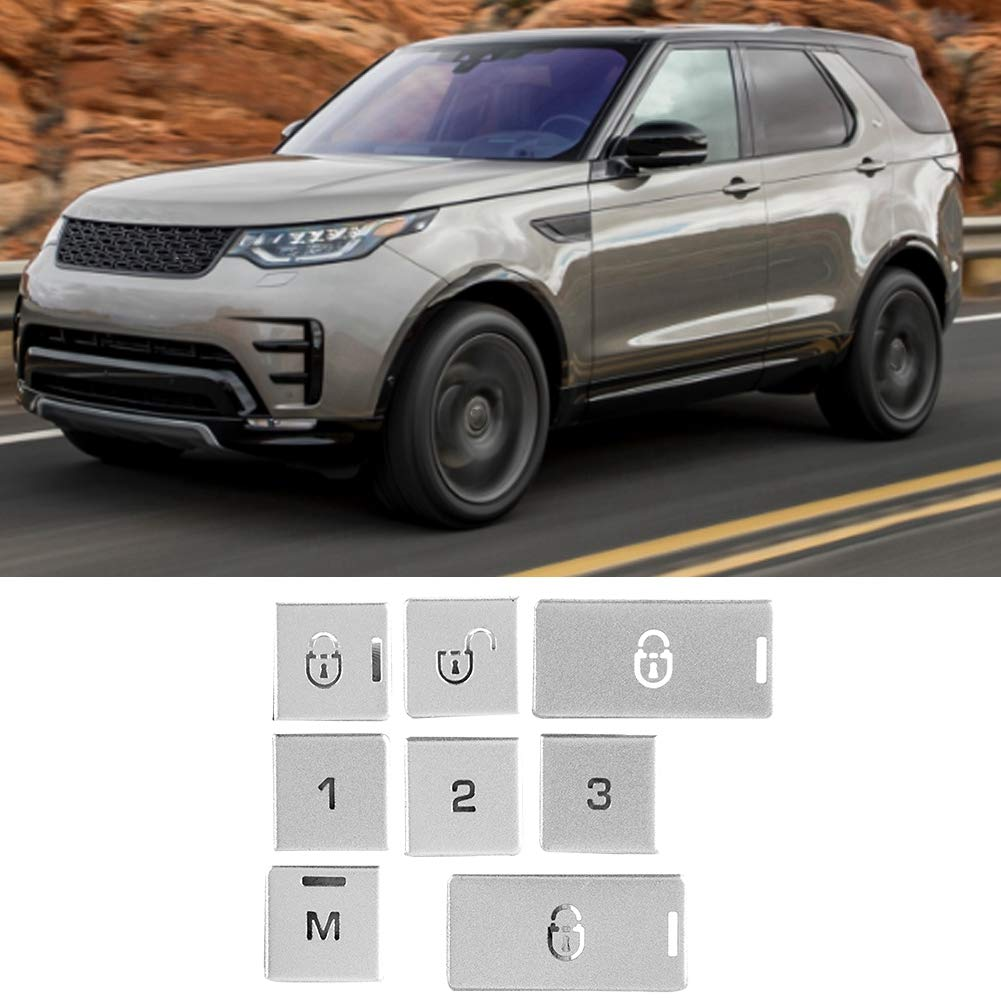 Duokon 9Pcs Aluminum alloy Car Interior Door Lock Memory Button Patch Fit for Land Rover Discovery 5 2017-2018 Exterior Accessories