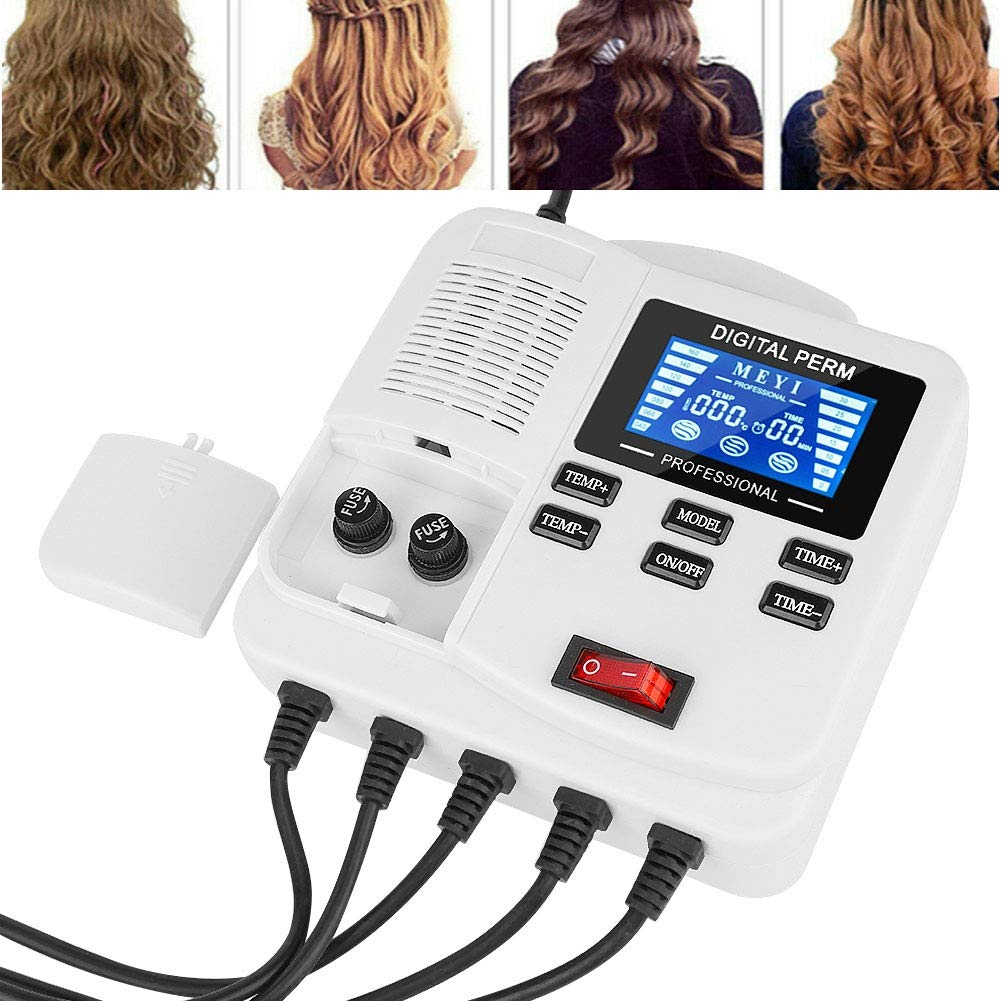 Hair Perm Machine, Small Safe Portable Digital PTC Heating Hair Perm Machine with Hair Roller Styling Tool for for Home Salon(US Plug)