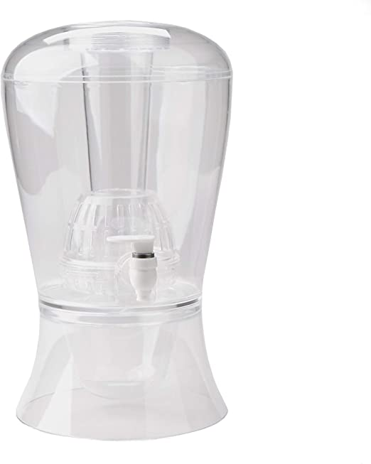 CreativeWare Beverage Dispenser With Ice Cylinder And Fruit Infuser Clear