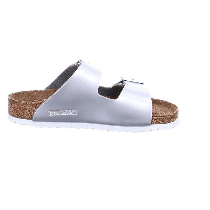 983a7daadb31 Birkenstock Kids Arizona Metallic Silver Two Strap Sandal  Amazon.co.uk   Shoes   Bags