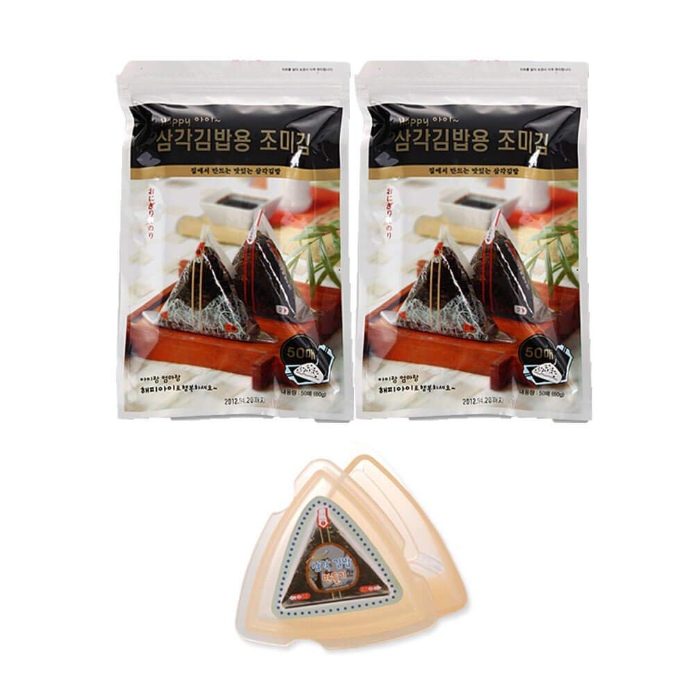 HapppyI Seaweed Wrappers for Triangular Triangle Kimbab with sticker(100sheets) (100 sheets with mold) by HapppyI