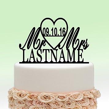 Ivisi Personalized Wedding Cake Topper Monogram Last Name Surname Decoration Anniversary Gift Design 5