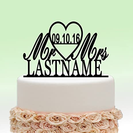 Amazon ivisi personalized wedding cake topper monogram last ivisi personalized wedding cake topper monogram last name surname decoration anniversary gift design 5 junglespirit Choice Image