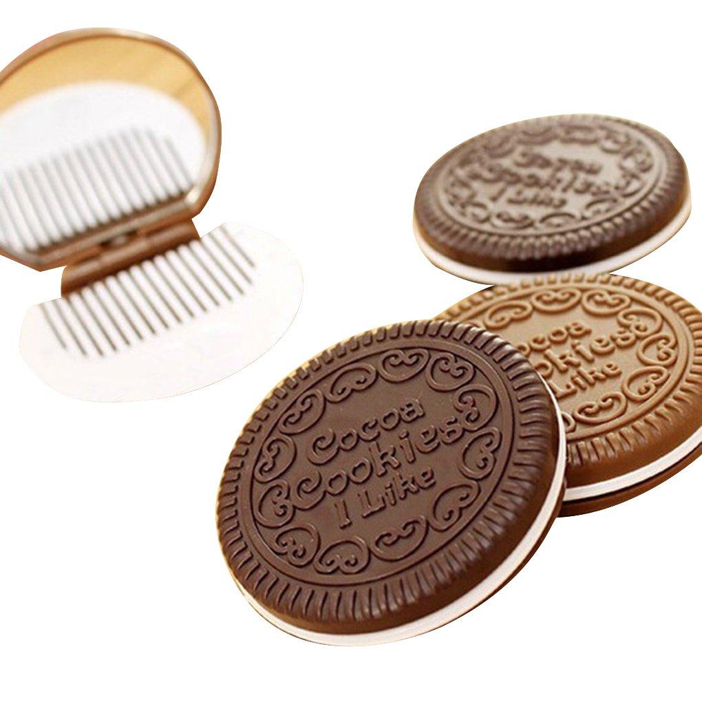 Forme Cookie chocolat mignon portable cosmétique de maquillage Peigne Miroir Lady fille Regard Natral