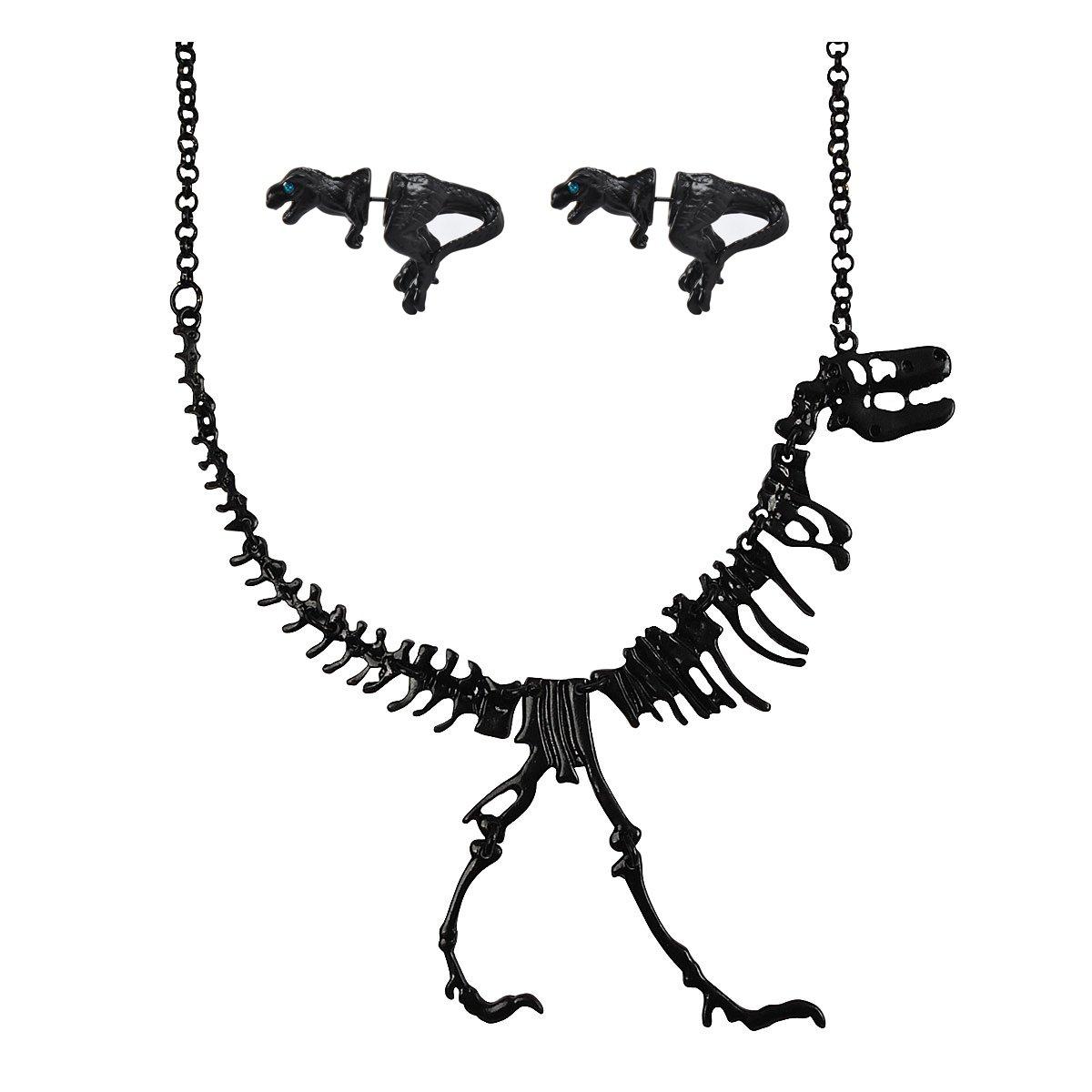 Jane Stone Black Dinosaur Necklace Earrings Short Statement Jewelry Set