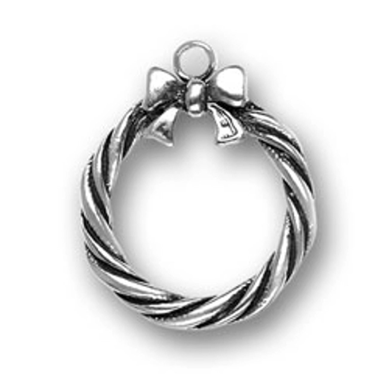 Sterling Silver 7 4.5mm Charm Bracelet With Attached 3D Christmas Twill Wreath With Bow Charm