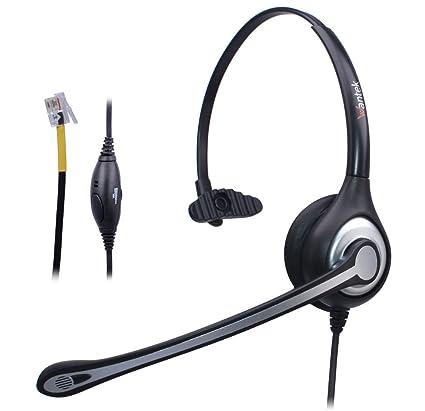 Auriculares Teléfono Fijo RJ9 Monoaural, Micrófono con Cancelación de Ruido, WANTEK Cascos con Control