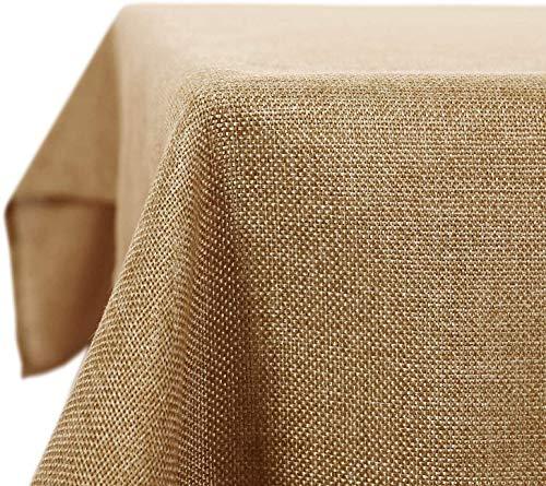 Deconovo Mantel Mesa Rectangular para Comedor Cocina o Salon Efecto Lino 137 x 200 cm Marron