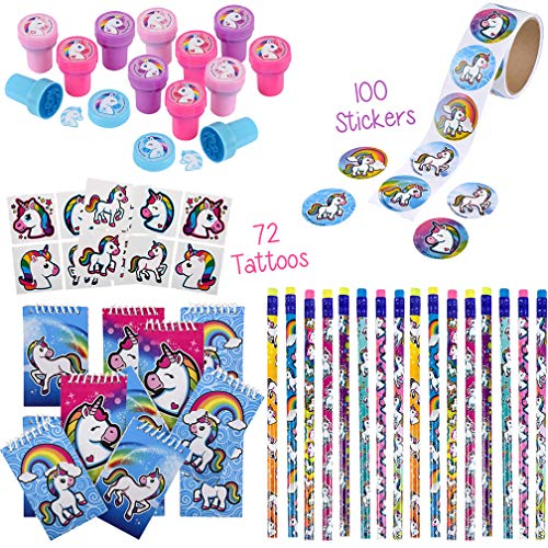 Rainbow Unicorn Party Favors | Supplies for Girls and Boys | Birthday Pack for 12 Kids | Pencils, Notepads, Stampers, 100 Stickers, 72 Tattoos | Magical, Blue Mystical, Fantasy Themed -