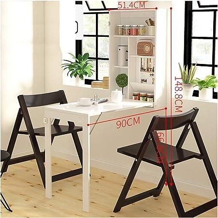 Mesa plegable de pared Madera de pino, con estante integrado ordenador armario cocina trabajo para fijar escritorio hoja abatible Mesa De Comedor: Amazon.es: Hogar