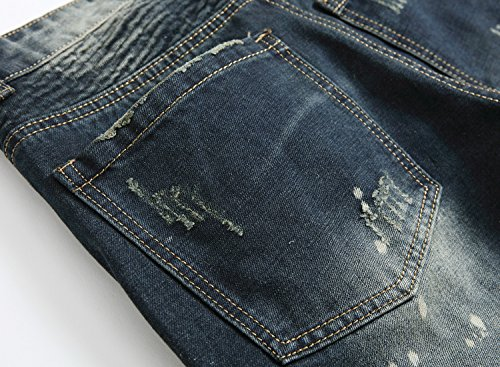 NITAGUT Men's Ripped Slim Straight Fit Biker Jeans Dark Blue-US 36