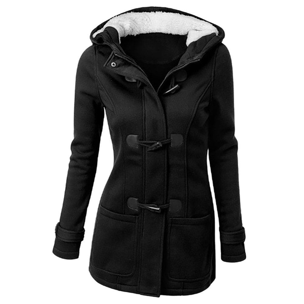 Women Upgraded Outdoor Warm Trench Wool Blended Pea Coat Hooded Jacket iBaste BA00494
