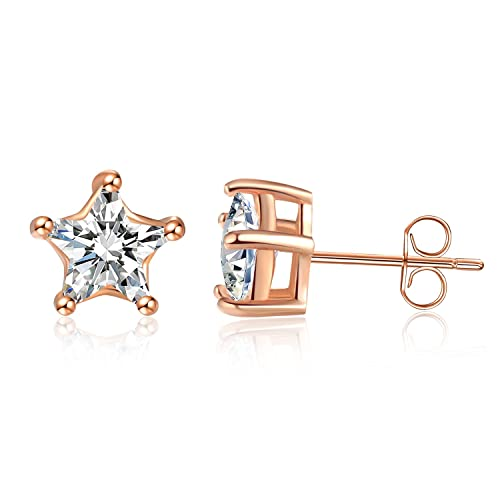 cefb16819c2 Sephla Women Silver Stud 14k Gold Plated 925 Sterling Silver 5 Prong  Five-Point Star Cubic ZIrconia Stud Earring,Yellow/White/Rose Gold Posted  Stud ...
