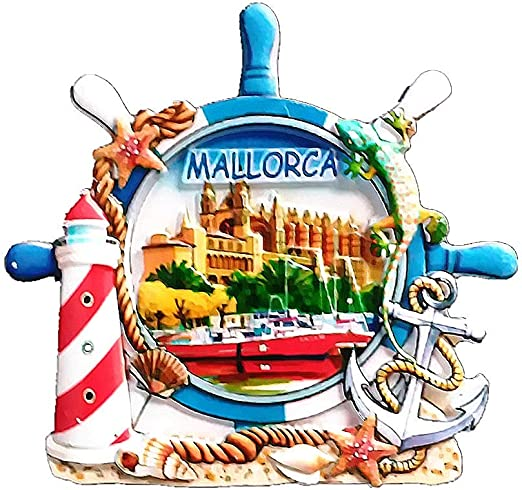 Imán 3D para nevera Mallorca España, recuerdo de viaje, colección de regalo para decoración del hogar y la cocina, imán magnético para nevera de Mallorca: Amazon.es: Hogar