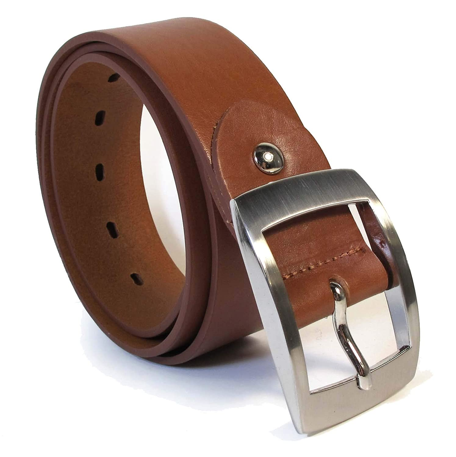 Womens Real Genuine Leather Tan Brown Belt 1.5 Wide S-XL Thick Casual Jeans CW2