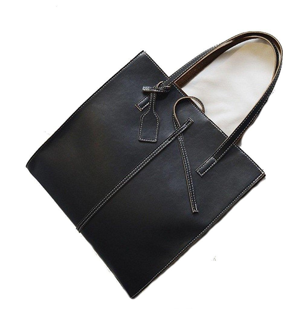 Casual Korean Style Leather Tote Shoulder Handbag Satchel Student Backpack for Women (Black)