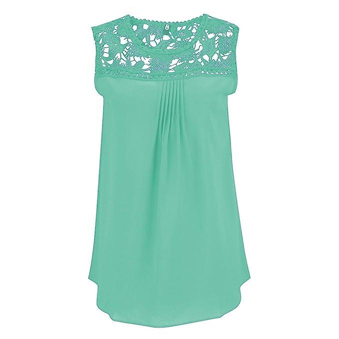 Blusa Camisa Camiseta Mujer Sin Mangas Encaje Elegante Oficina Casual Moda S Menta verde
