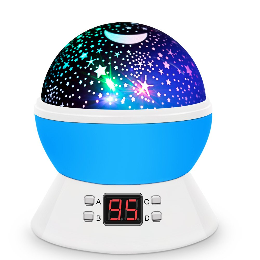 [Upgrade] MOKOQI Rotating Star Sky Projection Night Lights Toys Table Lamps with Timer Shut Off & Color Changing for 1 Year Old Baby Gifts Girls Boys Bedroom Christmas Gift Baby Nursery Lights(Blue)