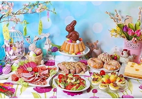 vrupi Día Pascua Telón 10x8ft Tradicional Mesa Desayuno Pascua ...