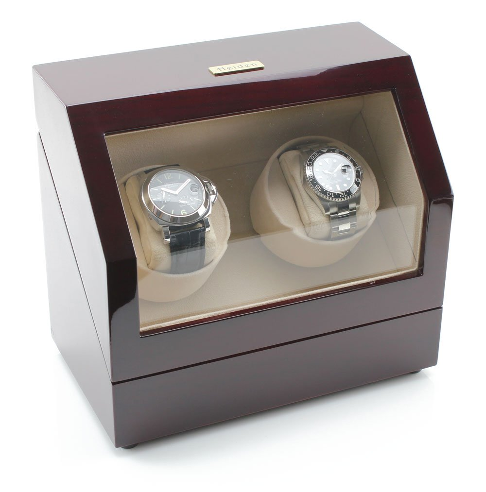 Heiden Battery Powered Dual Watch Winder in Cherrywood